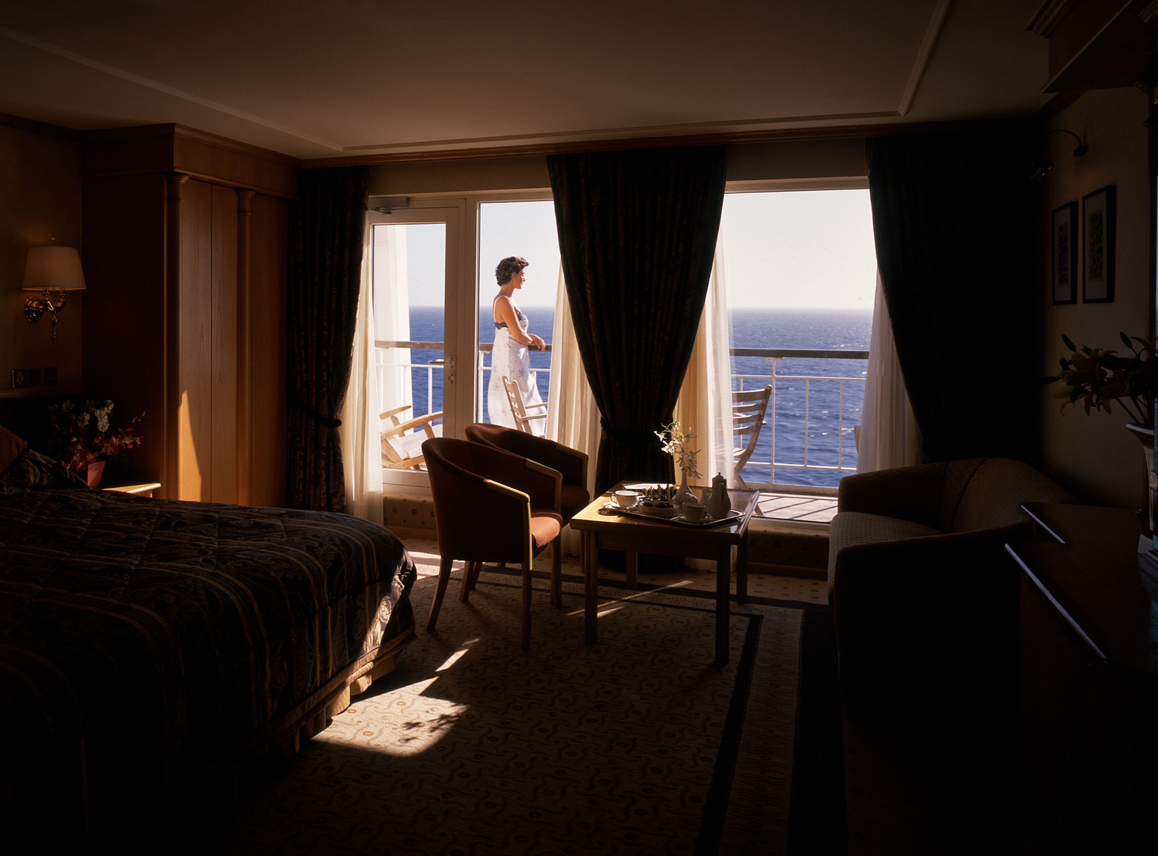 Woman Relaxing on Board Ship, Cunard Line
